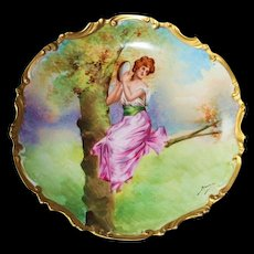 "RARE Limoges ""Orleans"" 100% Hand Painted Wall Plaque - Signed by Artist Bazanay"