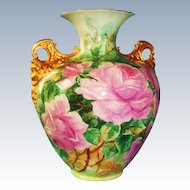 1910 Antique American Belleek Cherub Handled Vase with Pink Roses Signed by the Artist