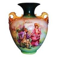 HUGE American Belleek Vase with Romantic Couple and Cherub Handles
