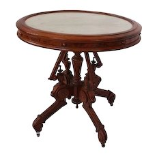 OUTSTANDING American Victorian Renaissance Revival Marble Top Table - Original Marble and Original Finish!