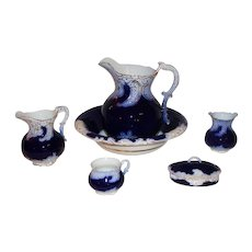 c.1800's VERY Rare 8 Piece American La Belle Flow Blue Wash Stand Set