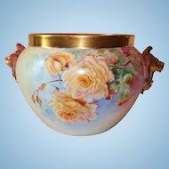 HUGE Gorgeous Limoges Hand Painted Lion Handled Jardiniere