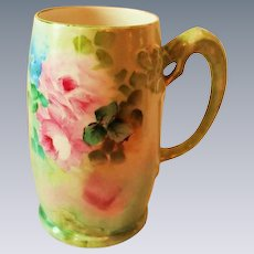Hand Painted Dragon Handled Mug ~  Hand Painted Roses  ~ Superb Artistry Jean Pouyat JPL Circa 1890 – 1932