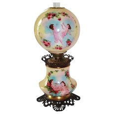 """LARGE Gone with the Wind Oil Lamp ~ 11"""" SHADE ~ Masterpiece Breathtaking BEAUTY WITH HAND PAINTED ROSES AND CHERUBS ~ Outstanding Fancy Ornate Font Spill Ring and Base~ Original Condition ~Original Parts ~ Collector Piece ~"""
