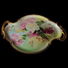 "Outstanding LARGE 17"" French Limoges Hand Painted Porcelain Tray ~ Tea Roses"