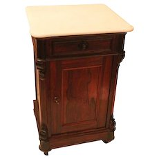 """WOW !!   Signed Thomas Brooks ROSEWOOD Rococo Lamp Table or Night Stand """"Half Commode"""" ~White marble ~  1860's American Made"""