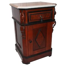 WOW! 1870's American Walnut Renaissance Revival Night Stand (Half Commode)