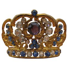 Lovely Diminutive Antique Jeweled Crown for Religious Figure or Antique Doll