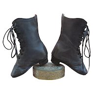 Unusual 19th c. Leather High Top Boots for Large Fashion Doll