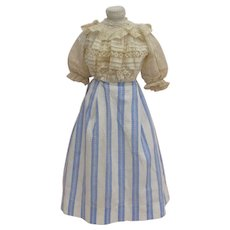 Striking French Blue and Ivory Civil War Era Skirt with Exquisite 19th c. Blouse