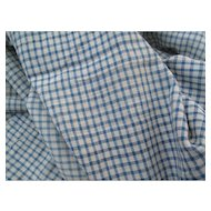 Early French Blue and Cream Cotton Tiny Cotton Check 1880's # 1