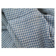 Early French Blue and Cream Cotton Tiny Cotton Check 1880's # 2