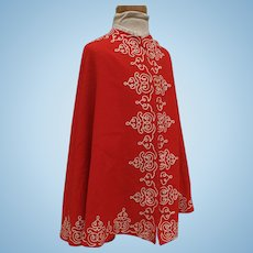 Beautiful 1860 Red Wool Challis Cape with Exquisite Soutache Trim