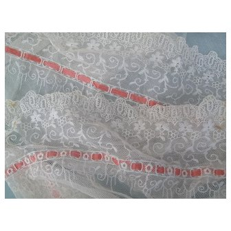 Fabulous LONG Flounce of Lace Net and Silk Insertion Ribbon