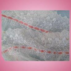 Fabulous LONG Flounce of Lace Net and Silk Insertion Ribbon
