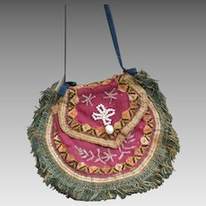 Unusual Mid 19th c. Make Do Ladies Cloth and Bead Purse / Large Early Cloth, China or Paper Mache Doll