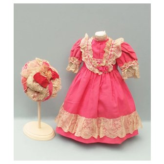 Lovely 1890's Dress and Bonnet in Rare Bubblegum Pink Wool Challis