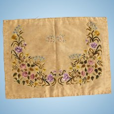 Beautiful Mid 19th c. Embroidered Silk Panel