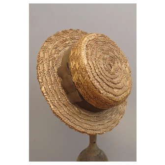 Wonderful Miniature Men's Straw Boater Hat by Moore Smith