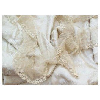 19 c.  Ivory Jacquard Wedding Silk