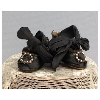 Fabulous Antique Doll Shoes with Outrageous Ties and Big Buckles!