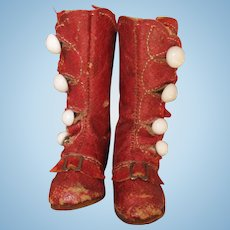 Exceptional Early Red Leather Fashion Boots