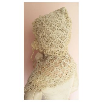 Lovely Antique Irish? Lace Bonnet and Wrap