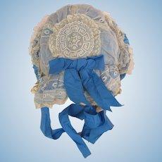 Extraordinary 1870's Doll Bonnet