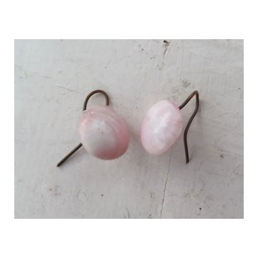 Lovely Antique or Vintage Pink and Creme Glass Earrings