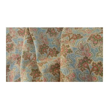 EXCEPTIONAL 1860-1880's Intricate Pastel Paisley Cotton Voile