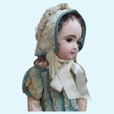 "Elegant 19th c, Bonnet for 19"" - 24"" Bebe or Large Fashion Doll"