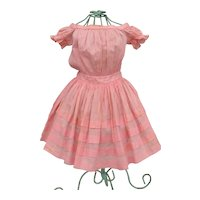 Lovely Mid 19th c. Petal Pink Voile Infant Dress for Large Doll