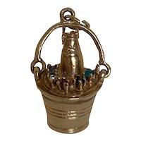 Best Version! Champagne in a Bucket Charm 14 K with Gemstones