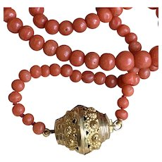 French Antique Coral Beads with 18k Gold Georgian Barrel Clasp