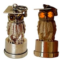 Vintage 14k Gold Owl Charm with Light Up  Eyes
