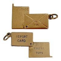Rare Report Card Charm in Envelope 14k Gold Charm