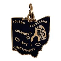 Vintage 14k Gold & Blue Enamel Ohio State Map Charm