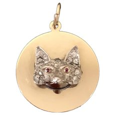 Vintage 14k Gold & Platinum Diamond Ruby Fox Charm