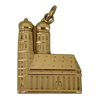 """Rare 14k Gold Charm of """"Frauenkirche"""" Cathedral, Munich"""