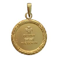 French 18k Gold Love Token Charm Qu'hier Que Demain in Laurel Wreath Border