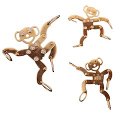 Happy 14k Gold & Diamond Articulated Monkey Charm