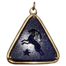 Vintage Lapis Lazuli & 18k Gold Capricorn Zodiac Charm