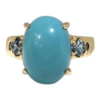 Gorgeous Persian Turquoise 14k Gold Ring with Gemstones
