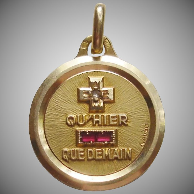 Quhier que demain french 18k gold pendant love charm by a augis quhier que demain french 18k gold pendant love charm by a augis aloadofball Choice Image