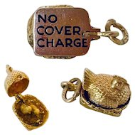 "Adorable 14k Vintage ""No Cover Charge"" Hen Charm"
