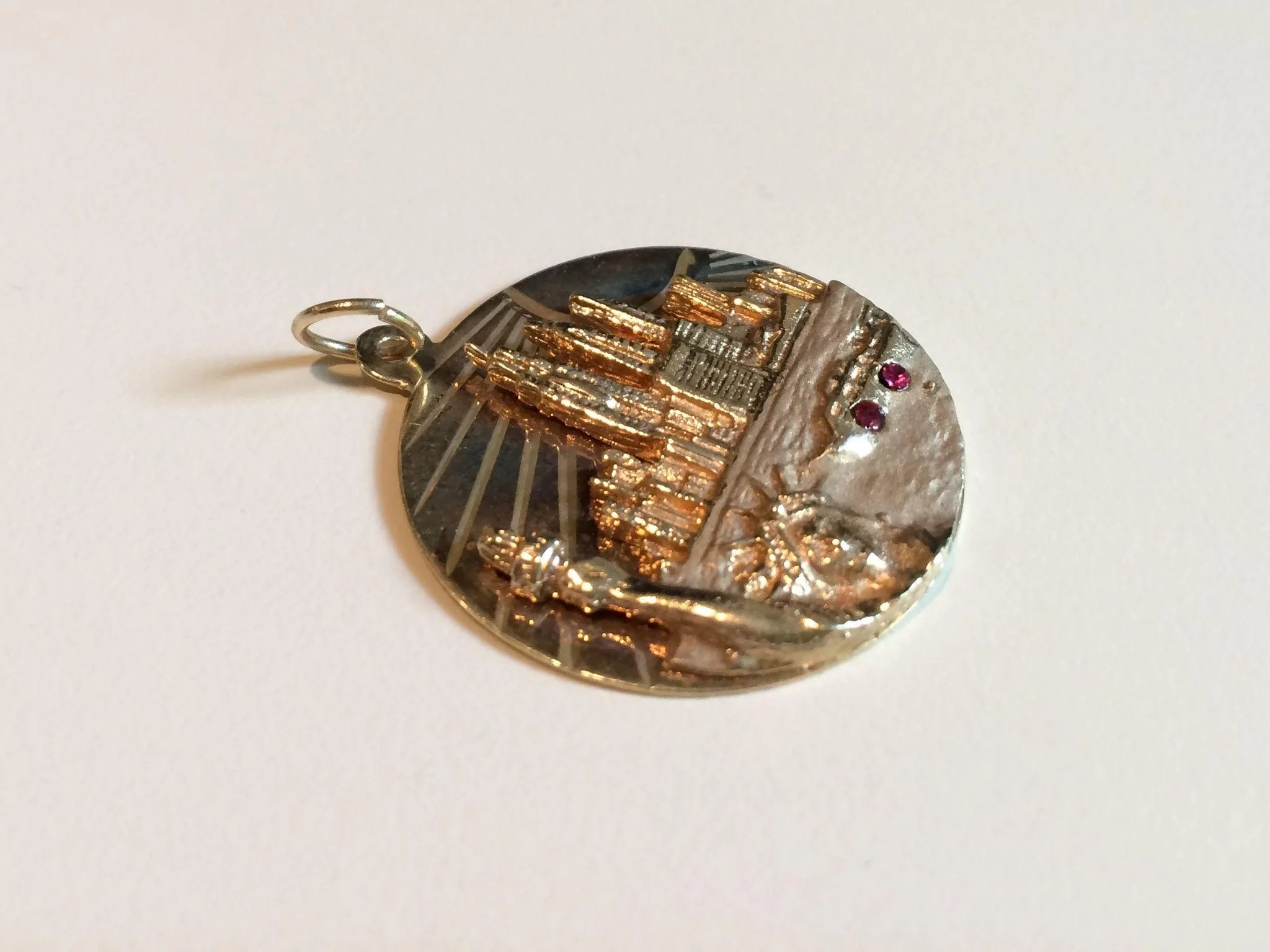 skyline charm police item liberty click to pendant badge of city linda york new statue expand full