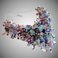 Magnificent Vintage Gemstone Bib Runway Necklace on Silver