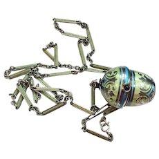 Edwardian Sterling Guilloche Enamel Pendant/Watch Chain Lorgnette (Watch Needs Repair)