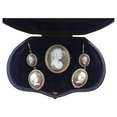 Magnificent 15k Gold Cameo Demi-Parure Earrings Brooch - Red Tag Sale Item