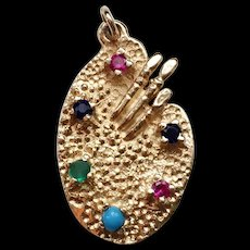 Painter's Palette Charm with Gemstones 14k Gold